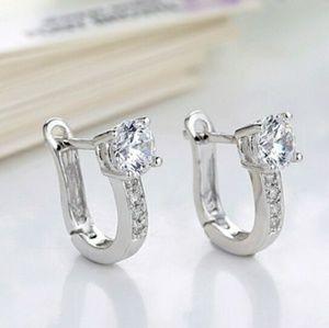 Jewelry - CUTE DAINTY .925 SS & CRYSTAL LEAVER BACK EARRINGS